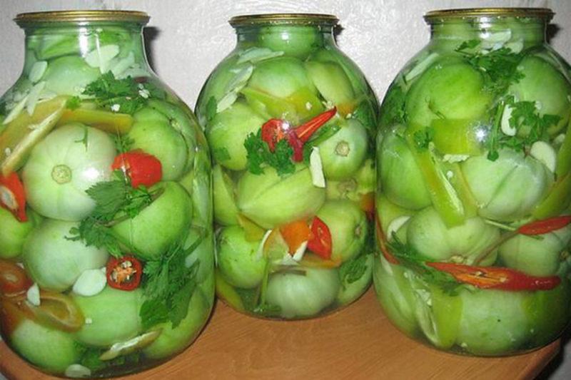 Приготовление зеленых помидоров на зиму